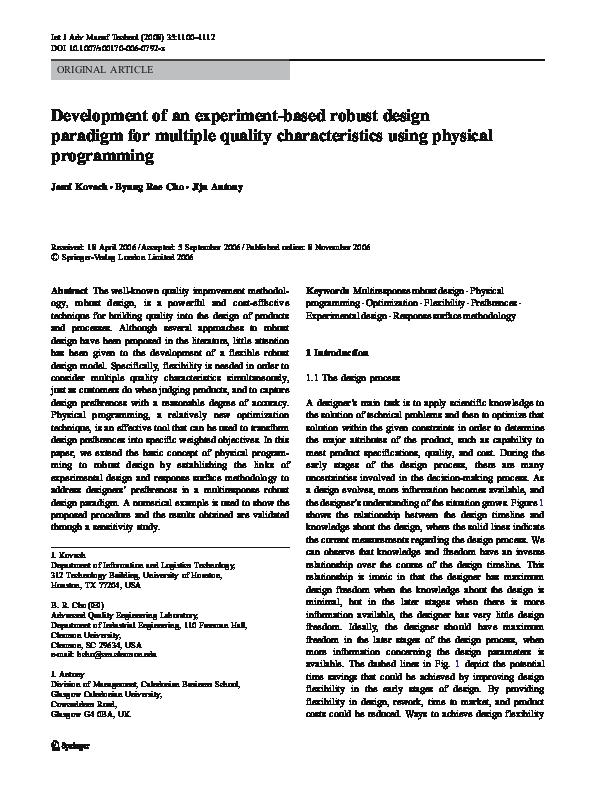 Pdf Development Of An Experiment Based Robust Design Paradigm For Multiple Quality Characteristics Using Physical Programming Jiju Antony Academia Edu