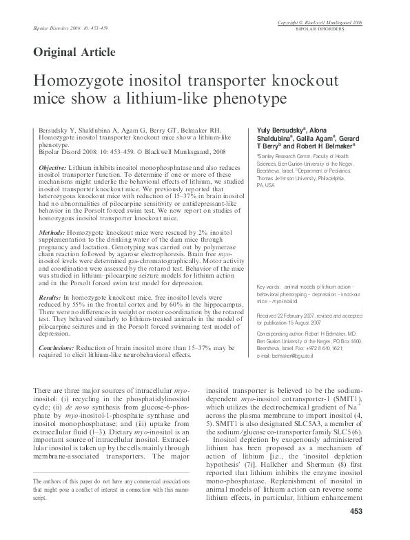 PDF) Homozygote inositol transporter knockout mice show a