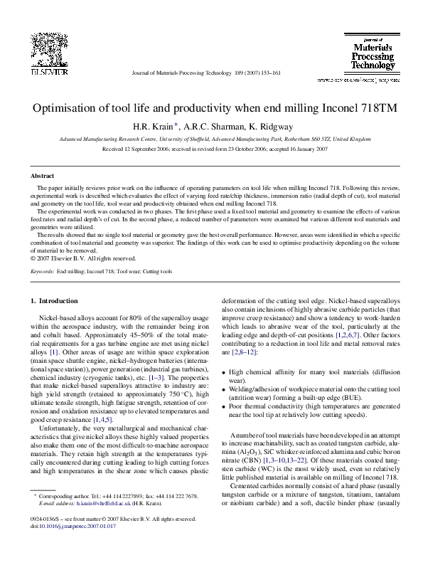 PDF) Optimisation of tool life and productivity when end