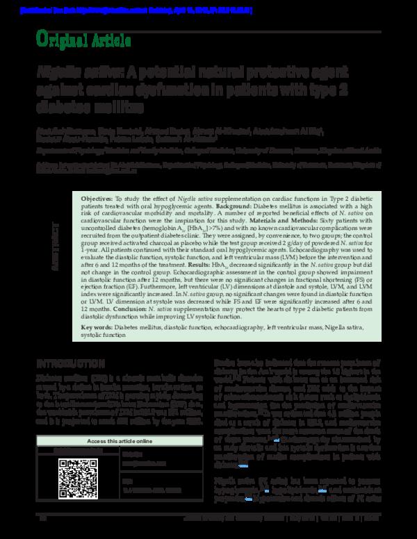 PDF) Nigella sativa: A potential natural protective agent against