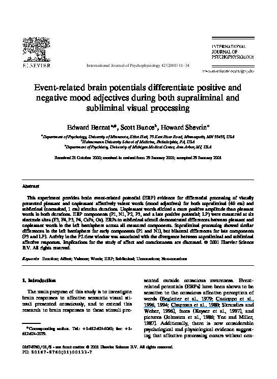 PDF) Event-related brain potentials differentiate positive