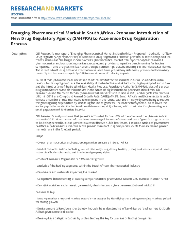 PDF) Emerging Pharmaceutical Market in South Africa -Proposed