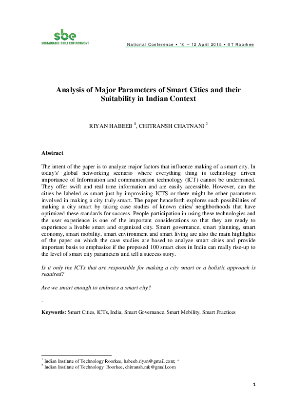 PDF) Analysis of Major Parameters of Smart Cities and their