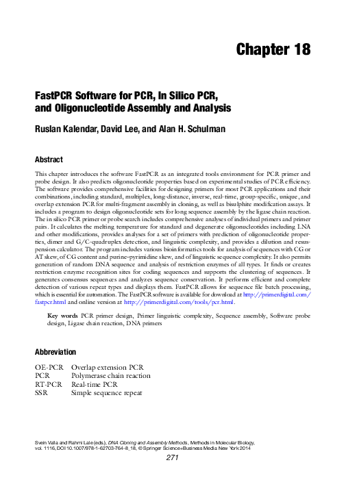 Pdf Fastpcr Software For Pcr In Silico Pcr And Oligonucleotide Assembly And Analysis Alan Schulman Academia Edu