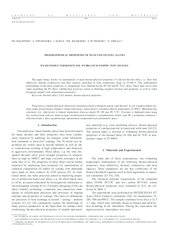 PDF) Thermo-Physical Properties of Selected Inconel | Dariusz