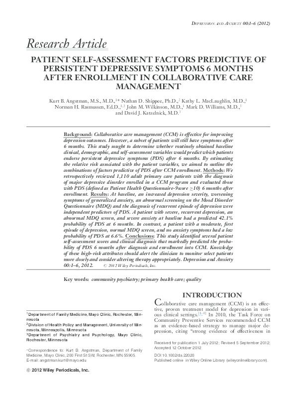 PDF) Patient Self-Assessment Factors Predictive of