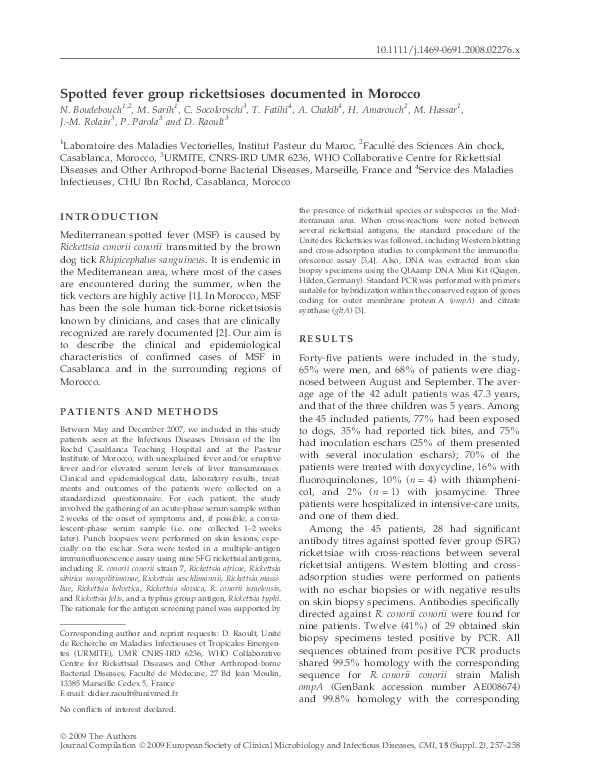 PDF) Spotted fever group rickettsioses documented in Morocco ...
