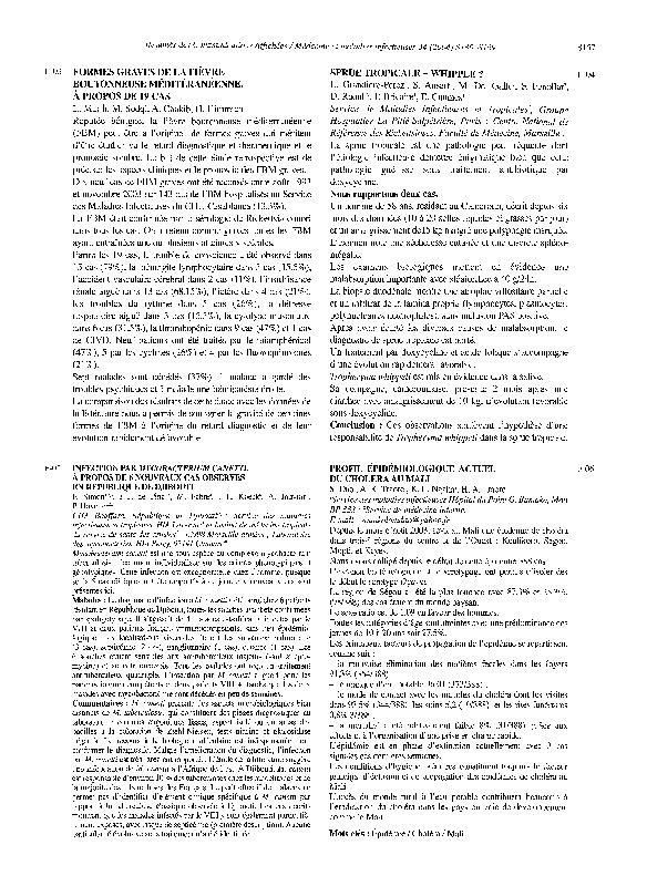 PDF) F-03 Formes graves de la fièvre boutonneuse méditéranéenne. À ...