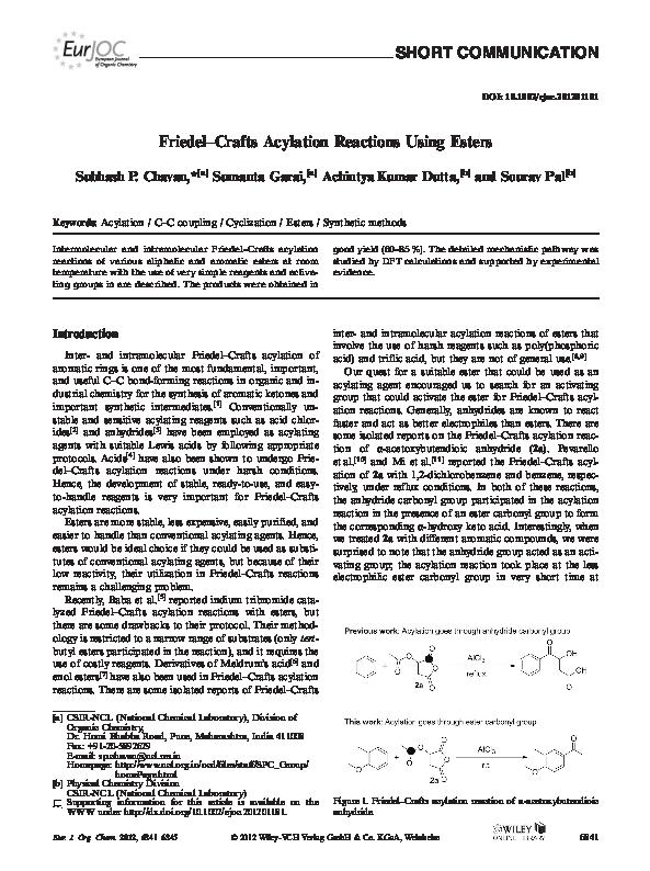 PDF) Friedel-Crafts Acylation Reactions Using Esters