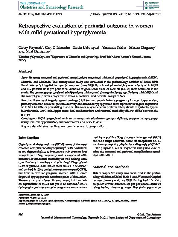 PDF) Retrospective evaluation of perinatal outcome in women
