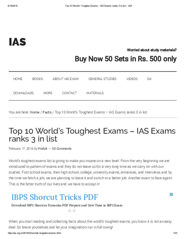 PDF) Top 10 Worlds Toughest Exams IAS Exams ranks 3 in list IAS