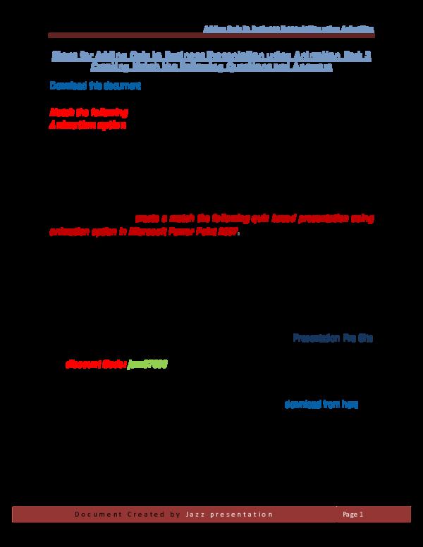PDF) Adding Quiz to Business Presentation using Animation Steps for