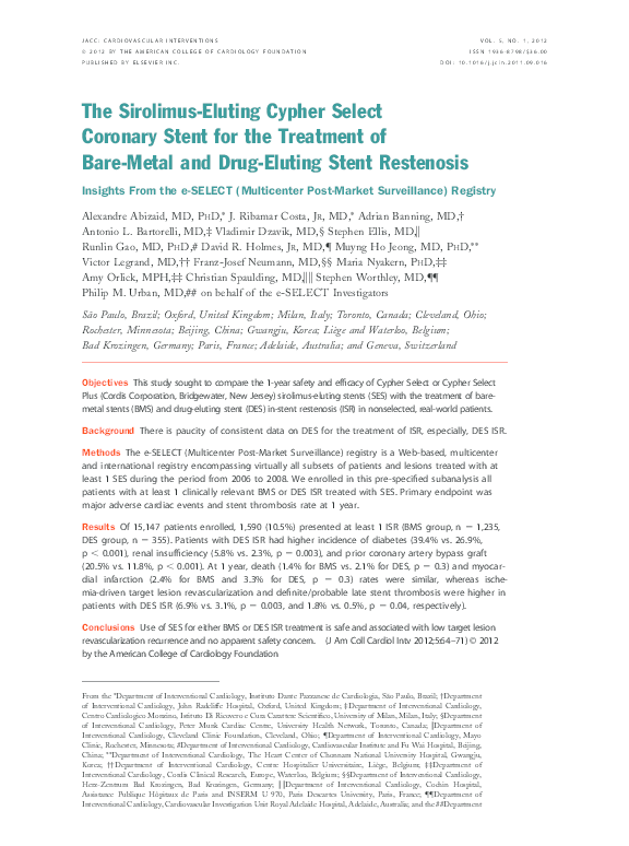 PDF) The Sirolimus-Eluting Cypher Select Coronary Stent for