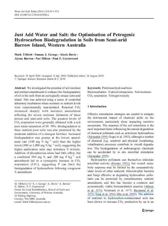 PDF) Just Add Water and Salt: the Optimisation of Petrogenic