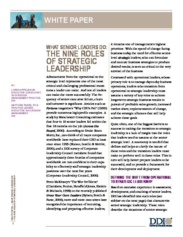 PDF) THE NINE ROLES OF STRATEGIC LEADERSHIP | Naughty Dad