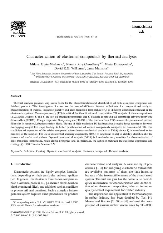 PDF) Characterization of elastomer compounds by thermal analysis