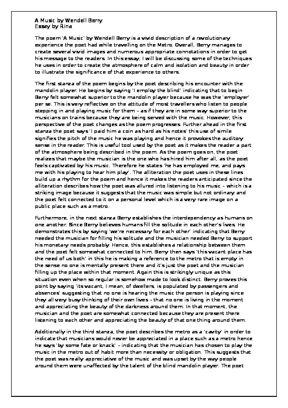 Wendell berry essay