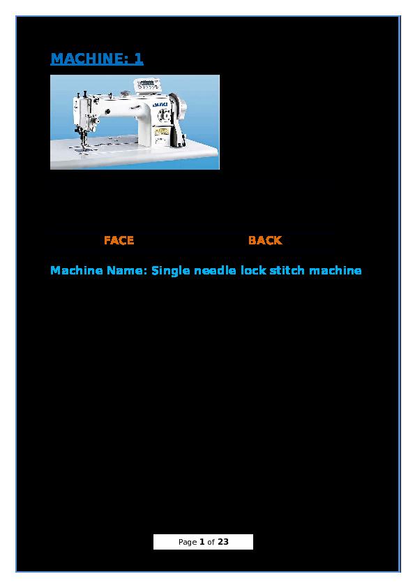 Doc Machine 1 Face Back Machine Name Single Needle Lock Stitch Machine Sanab The Good Boy Academia Edu