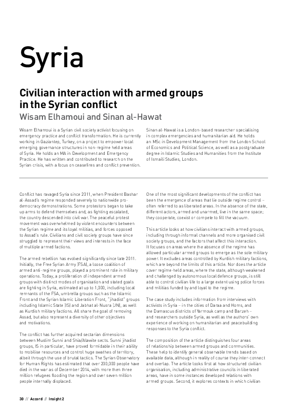 Syria Civilian interaction with armed groups in the Syrian