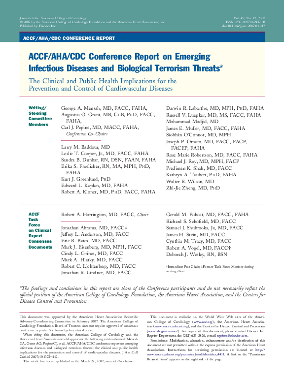 PDF) ACCF/AHA/CDC Conference report on emerging infectious