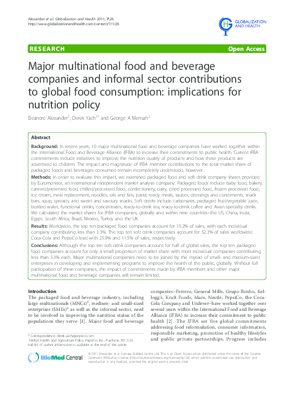 PDF) Major multinational food and beverage companies and