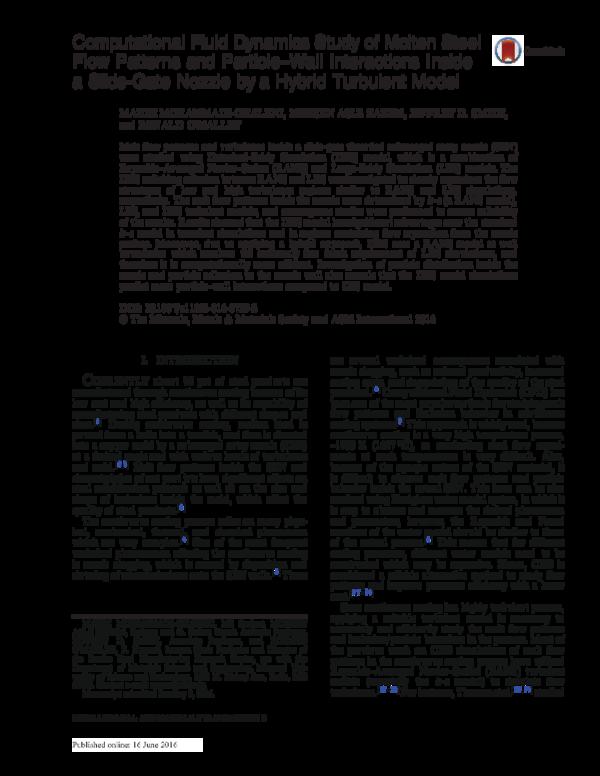 PDF) Computational Fluid Dynamics Study of Molten Steel Flow