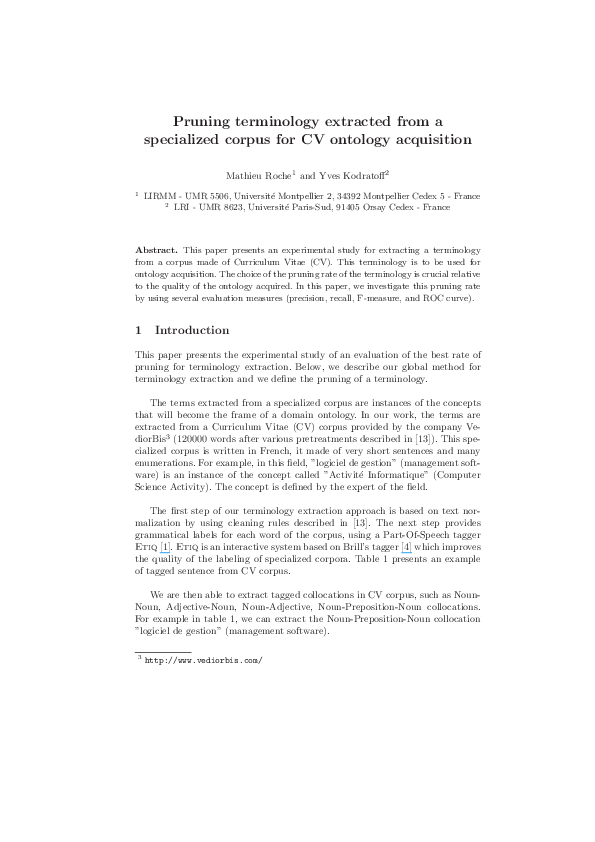 Pdf Pruning Terminology Extracted From A Specialized Corpus