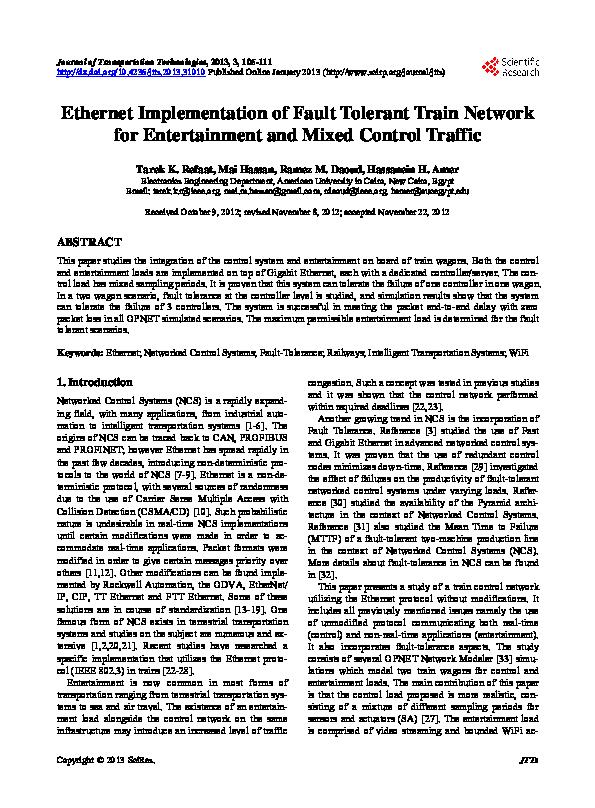 PDF) Ethernet Implementation of Fault Tolerant Train Network