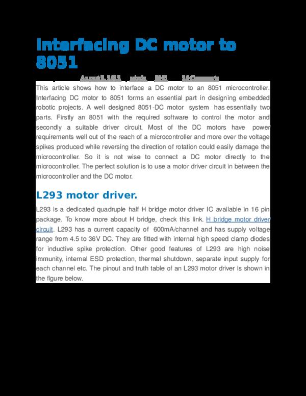 DOC) Interfacing DC motor to 8051 | Aniket Gauns - Academia edu