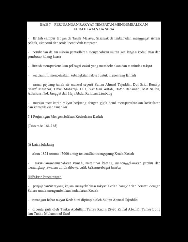 Doc Bab 7 Perjuangan Rakyat Tempatan Mengembalikan K Ejam Fst Academia Edu