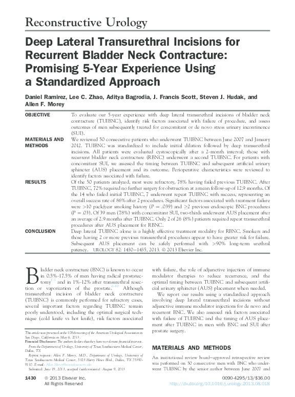 PDF) Deep lateral transurethral incisions for recurrent bladder neck