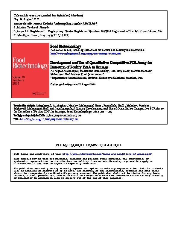PDF) Development and Use of Quantitative Competitive PCR