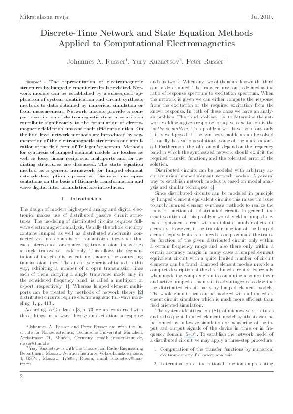 PDF) Discrete-time network and state equation methods applied to