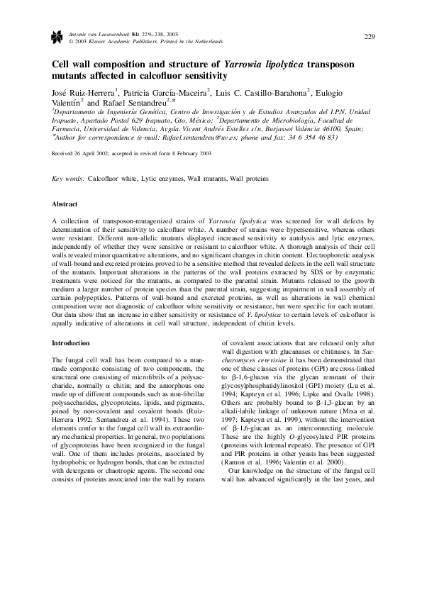 PDF) Cell wall composition and structure of Yarrowia