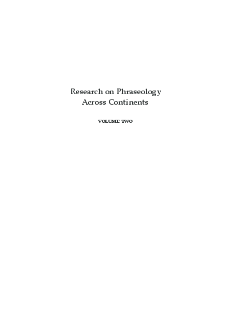 Pdf Intercontinental Dialogue On Phraseology 2 Research On