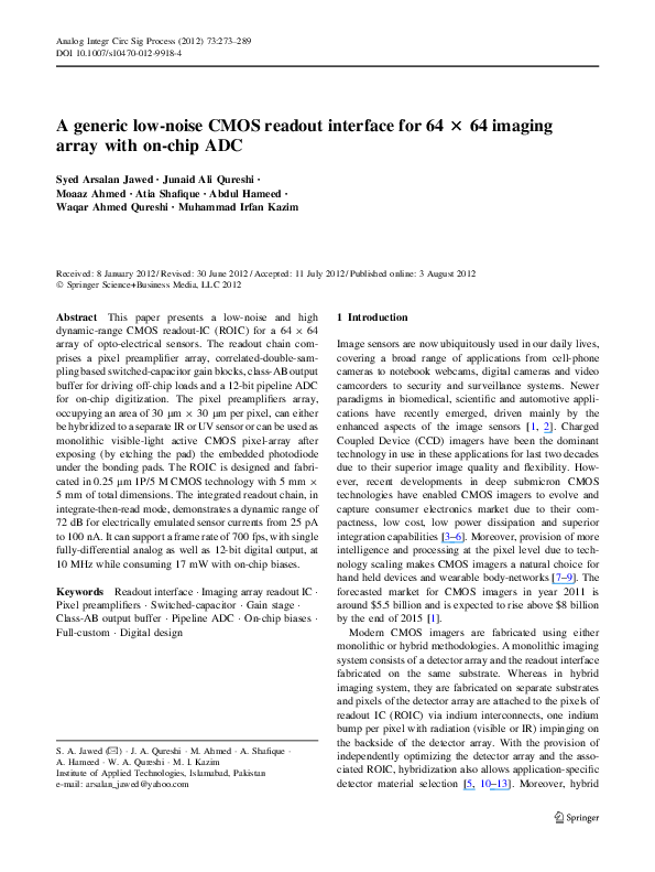 PDF) A generic low-noise CMOS readout interface for 64 × 64 imaging