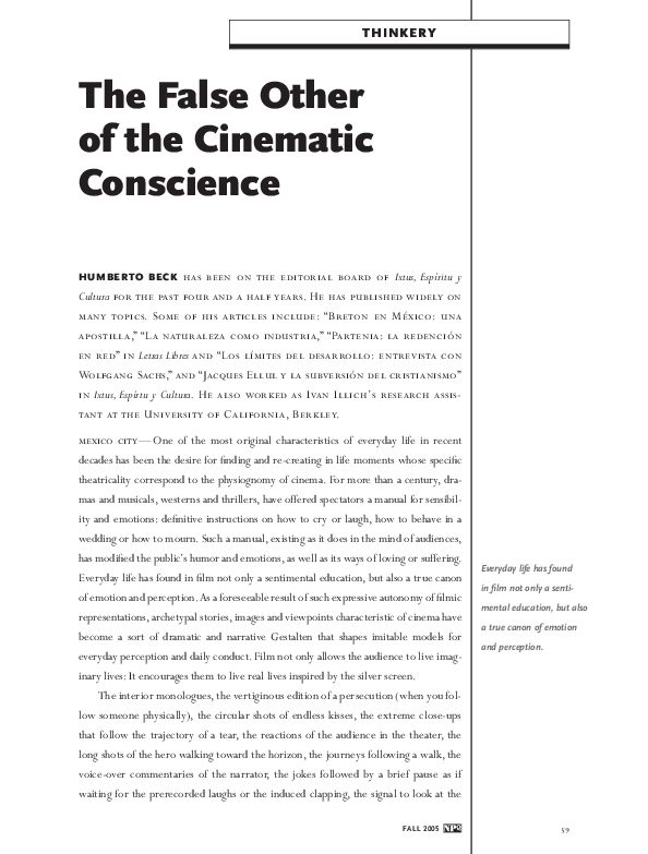 Pdf The False Other Of The Cinematic Conscience Humberto Beck Academia Edu