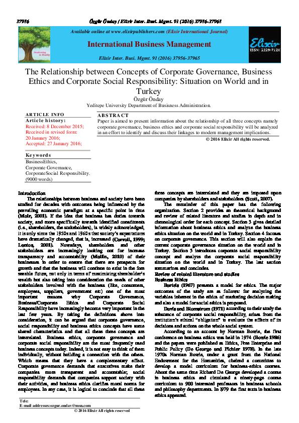 PDF) Relationship btw Corporate Governance Business Ethics
