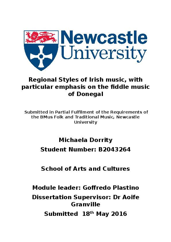 DOC) Regional styles of music in Ireland, with particular focus on