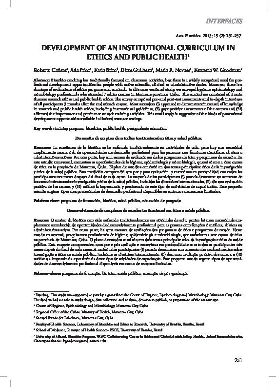PDF) Development of an institutional curriculum in ethics
