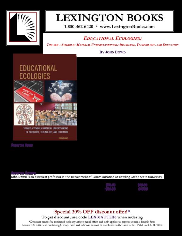 PDF) Educational Ecologies: Toward a Symbolic-Material