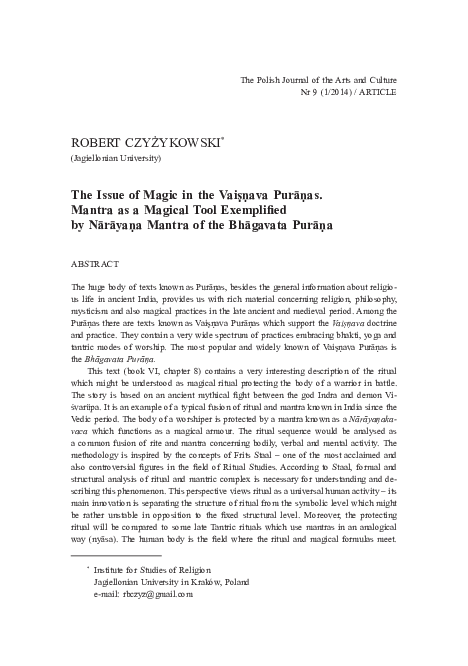 The Issue of Magic in the Vaiṣṇava Purāṇas  Mantra as a Magical Tool