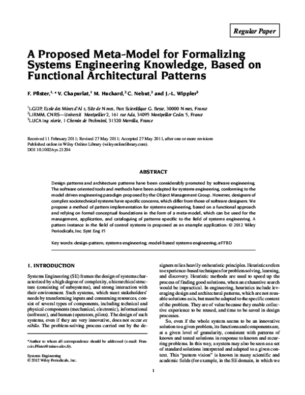Pdf A Proposed Meta Model For Formalizing Systems Engineering Knowledge Based On Functional Architectural Patterns Jean Luc Wippler Academia Edu