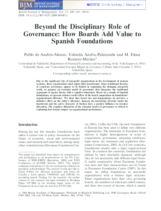 PDF) Beyond the Disciplinary Role of Governance: How Boards