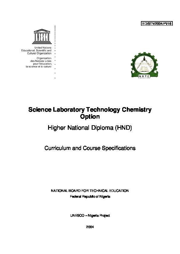 Science Laboratory Technology Chemistry Option Higher National