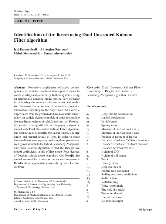 PDF) Identification of tire forces using Dual Unscented Kalman