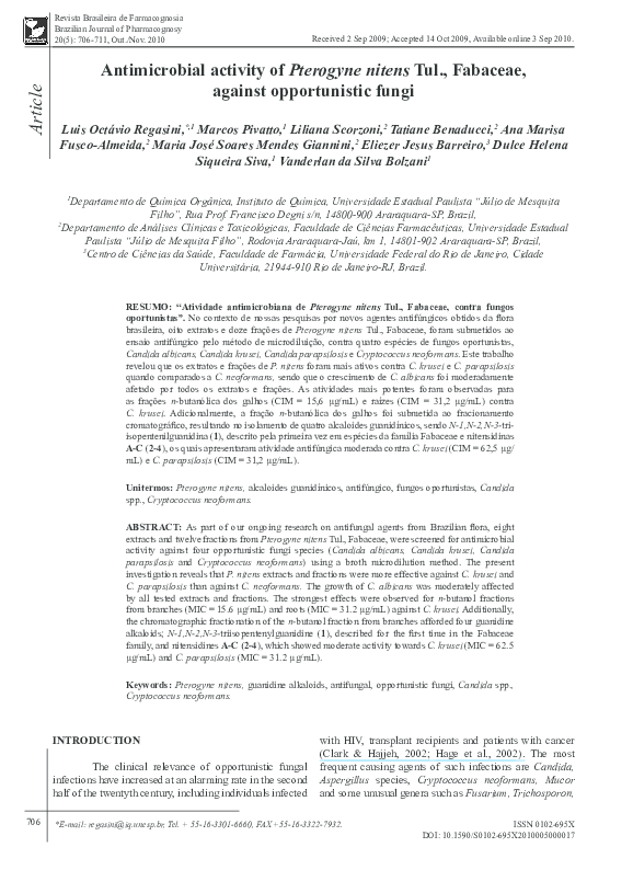 PDF) Antimicrobial activity of Pterogyne nitens Tul