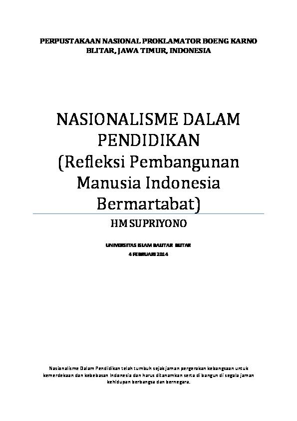 Pdf Nasionalisme Dalam Pendidikan Supriyono Supriyono Academia Edu