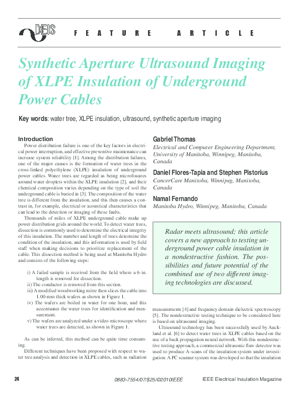 PDF) Synthetic aperture ultrasound imaging of XLPE