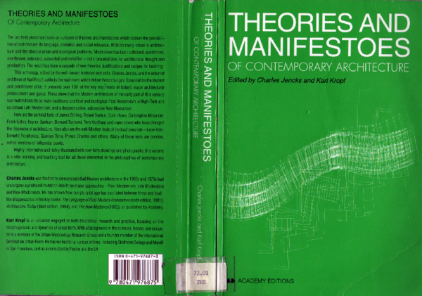 PDF) Theories and Manifestoes of Contemporary Architecture